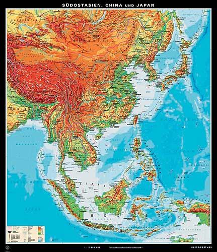 Japan Karte Physisch.Sud Ost Asien China Und Japan Karte Oder Landkarte Sud Ost