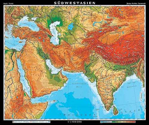 Landkarte Asien.Sud West Asien Karte Oder Landkarte Sud West Asien
